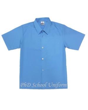 Size 9-19 PhD Blue Shirt Short Sleeve Best School Uniform | Baju Biru Sekolah Lengan Pendek Berkualiti