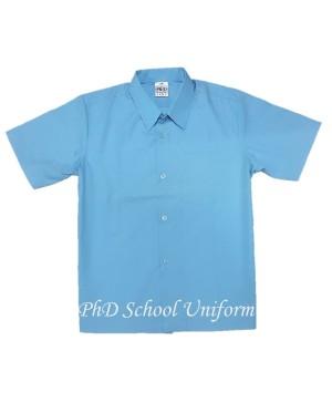Size 10-16.5 PhD Light Blue Shirt Short Sleeve School Uniform   Baju Seragam Sekolah Lengan Pendek Biru Muda