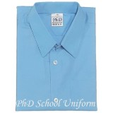 Size 10-14.5 PhD Light Blue Short Sleeves School Uniform | Baju Sekolah Lengan Pendek Biru Muda
