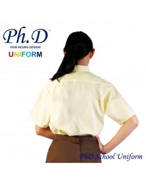 Size 9-19 PhD Yellow Shirt Short Sleeve School Uniform   Baju Kuning Seragam Sekolah Lengan Pendek Berkualiti