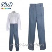 Waist24-36 Length36,38,40,42  PhD School Uniform Secondary Grey Long Pant-Pleated Seluar Panjang Sekolah Menengah Kelabu