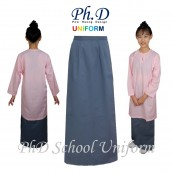 PhD School Uniform Size SS,S,M,L,XL,XXL Kain Kurung Sekolah-Kelabu/Grey