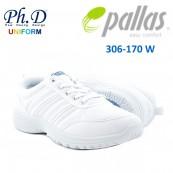 Pallas 306-0170W White School Shoe Jazz Lo Cut with Lace | Kasut Putih Sekolah
