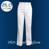 Waist 24-36 Length 36,38,40,42 PhD White Long Pant Secondary School | Seluar Panjang Putih Sekolah Menengah | PBSM BBSM Private School