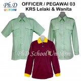 Size12-17 PhD KRS Uniform & T-Shirt Officer/Pemimpin/Pegawai 03 KRS Lelaki & Wanita Double Pocket