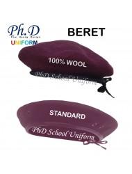 PhD Standard School Beret & 100% Wool Officer   Topi Beret Maroon Green & Officer Cap Badge Lencana Topi